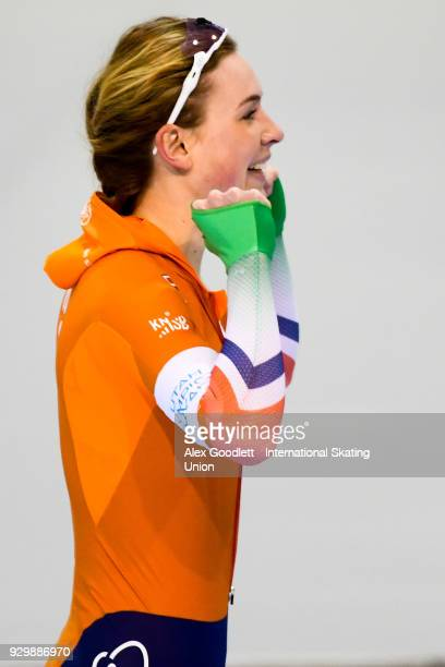 Joy Beune of the Netherlands celebrates after winning the ladies 1500 meter final at the World Junior Speed Skating Championships at Utah Olympic...