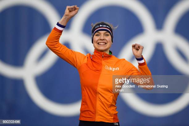 Joy Beune of the Netherlands celebrates after winning the ladies 3000 meter final during the World Junior Speed Skating Championships at Utah Olympic...