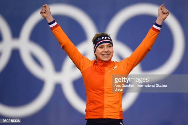 Joy Beune of the Netherlands celebrates after winning the ladies allround during the World Junior Speed Skating Championships at Utah Olympic Oval on...