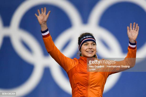 Joy Beune of the Netherlands celebrates after winning the women's 3000 meter final during the ISU Junior World Cup Speed Skating event at Utah...
