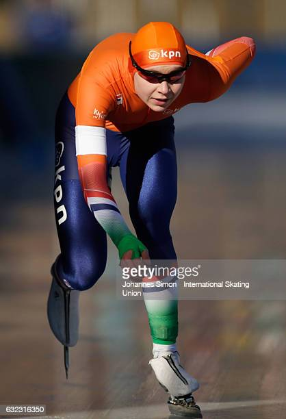 Joy Beune of the Netherlands competes in the first women's junior 1000m draw for the ISU junior world cup speed skating championships on January 21...