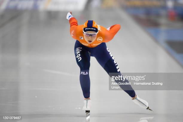 Joy Beune of the Netherlands competes in the ladies' 1500 meter during the ISU World Single Distances Speed Skating Championships on February 16 2020...