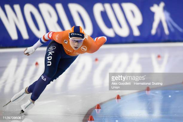 Joy Beune of the Netherlands competes in the women's 1500m duing the ISU World Cup Final at the Utah Olympic Oval on March 10 2019 in Salt Lake City...