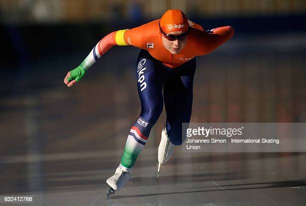 Joy Beune of the Netherlands competes in the women's junior 1500 m draw for the ISU junior world cup speed skating championships on January 22 2017...