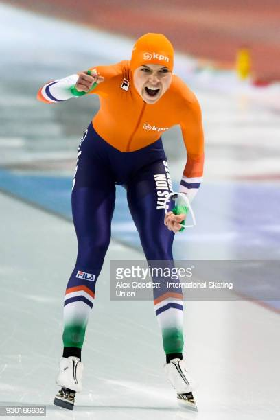 Joy Beune of the Netherlands performs in the ladies 1000 meter final during the World Junior Speed Skating Championships at Utah Olympic Oval on...