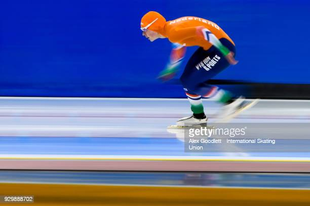 Joy Beune of the Netherlands performs in the ladies 1500 meter final at the World Junior Speed Skating Championships at Utah Olympic Oval on March 9...