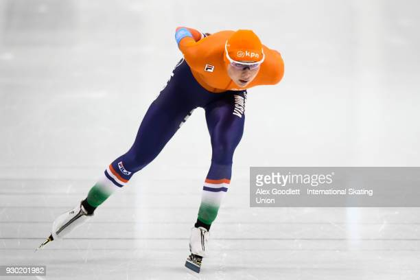 Joy Beune of the Netherlands performs in the ladies 3000 meter final during the World Junior Speed Skating Championships at Utah Olympic Oval on...