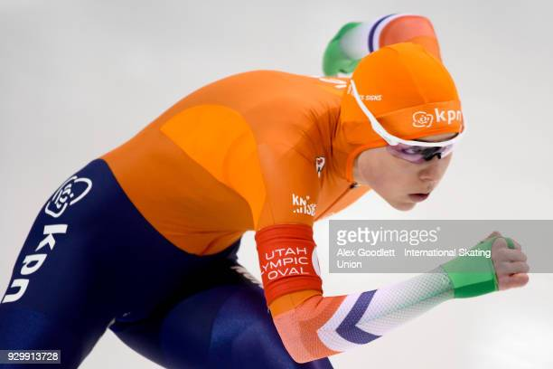 Joy Beune of the Netherlands performs in the ladies 500 meter final during the World Junior Speed Skating Championships at Utah Olympic Oval on March...