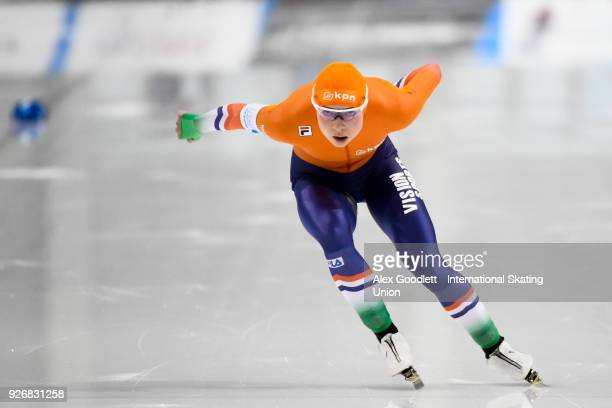 Joy Beune of the Netherlands performs in the women's 1000 meter final during day 2 of the ISU Junior World Cup Speed Skating event at Utah Olympic...