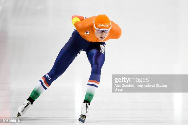 Joy Beune of the Netherlands performs in the women's 3000 meter final during the ISU Junior World Cup Speed Skating event at Utah Olympic Oval on...
