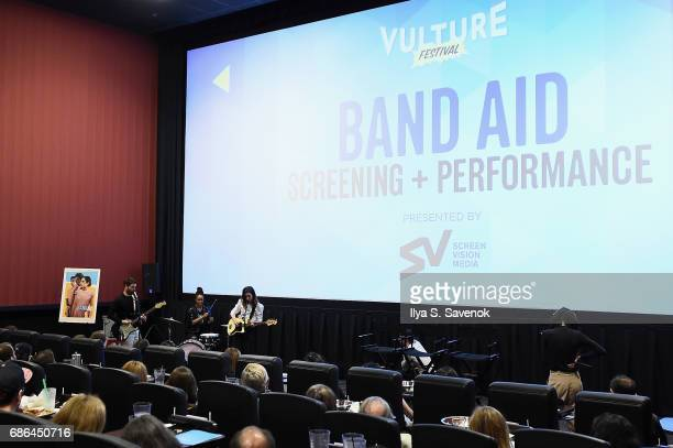 Joy Bryant Adam Pally and Zoe ListerJones perform at the Band Aid screening at Alamo Drafthouse Theater during Vulture Festival on May 21 2017 in New...