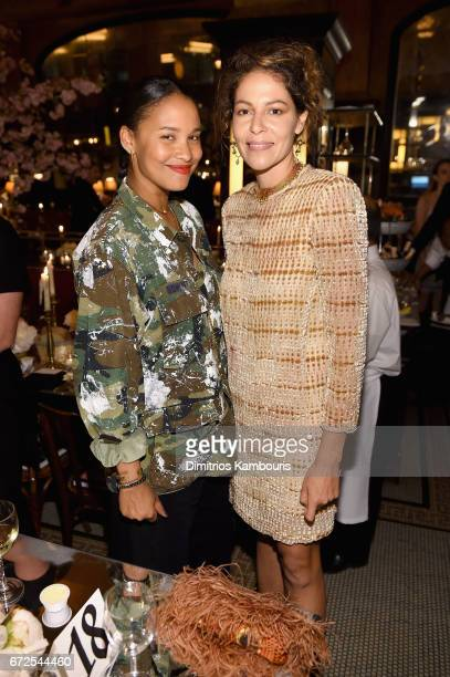 Joy Bryant and Lola Schnabel attend the CHANEL Tribeca Film Festival Artists Dinner at Balthazar on April 24 2017 in New York City