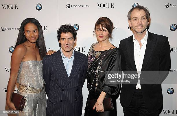 Joy Bryant Vogue publisher Tom Florio Helena Christensen and Adrian Van HooydonkBMW design attend the All New 2009 BMW 7 Series celebration by Vogue...