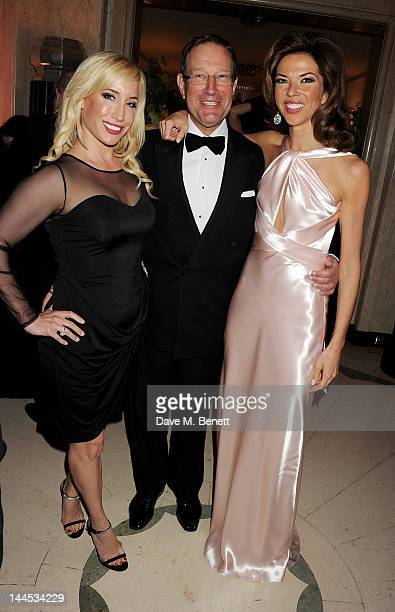 Joy Canfield Richard Desmond and Heather Kerzner attend the Marie Curie Cancer Fundraiser hosted by Heather Kerzner at Claridge's Hotel on May 15...