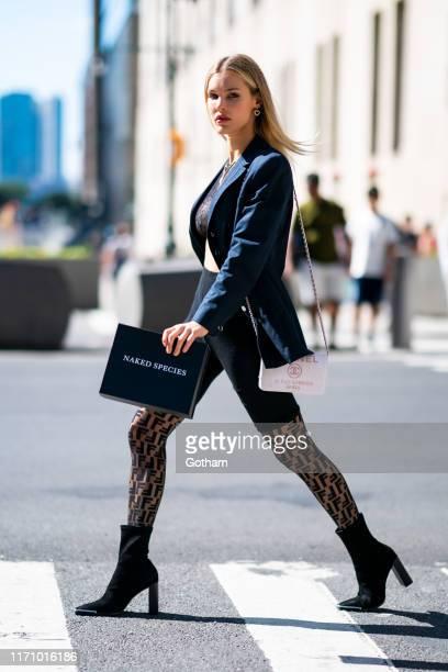 Joy Corrigan is seen wearing Naked Species in Tribeca on August 29, 2019 in New York City.