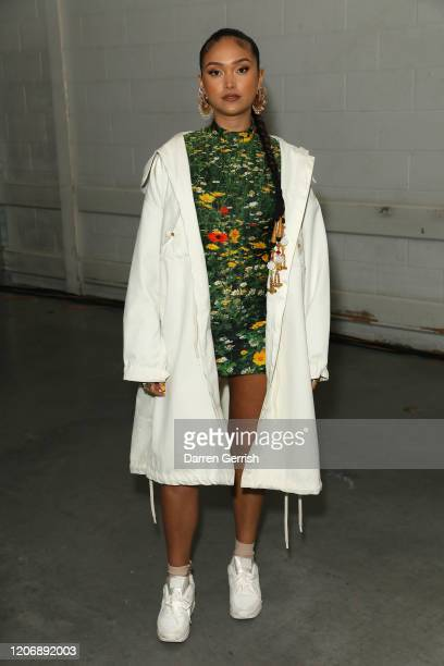 Joy Crookes attends the Christopher Kane show during London Fashion Week February 2020 on February 17 2020 in London England