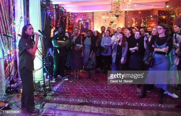 Joy Crookes performs at Mulberry's 'My Local' Festive Event on November 26 2019 in London England