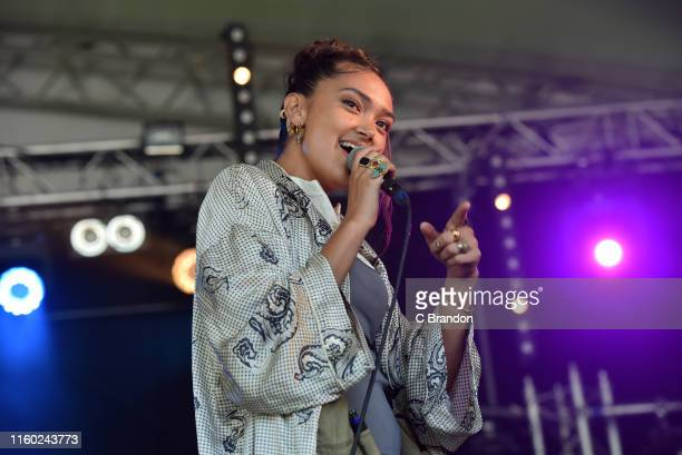 Joy Crookes performs on stage during Day 1 of the Cornbury Festival 2019 on July 05 2019 in Oxford England