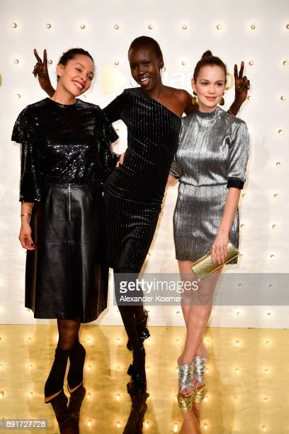 Joy Denalane Alek Wek and Emilia Schuele attend the Zalando Xmas bash hosted by Alek Wek at Haus Ungarn on December 13 2017 in Berlin Germany