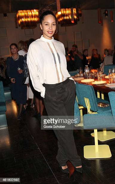 Joy Denalane attends the LaLa Berlin Dinner with Cinderella during the MercedesBenz Fashion Week Berlin Autumn/Winter 2015/16 at Crackers on January...