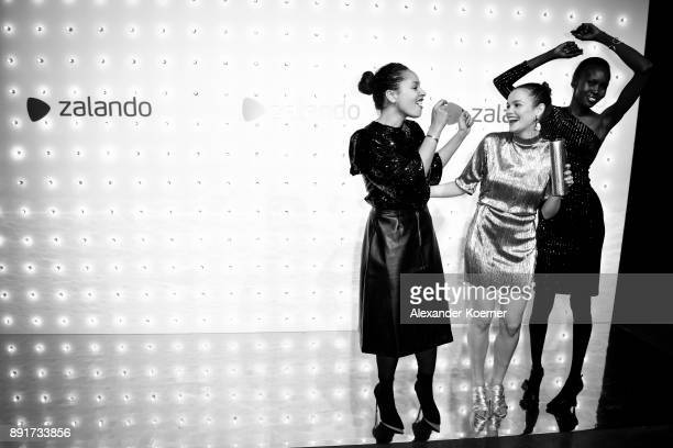 Joy Denalane Emilia Schuele and Alek Wek attend the Zalando Xmas bash hosted by Alek Wek at Haus Ungarn on December 13 2017 in Berlin Germany