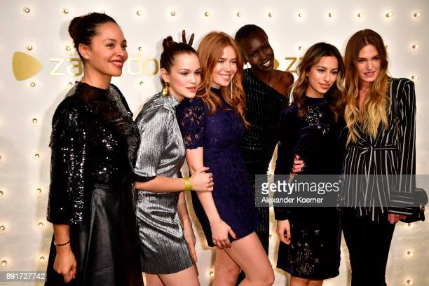 Joy Denalane Emilia Schuele Palina Rojinski Alek Wek Gizem Emre and guest attend the Zalando Xmas bash hosted by Alek Wek at Haus Ungarn on December...