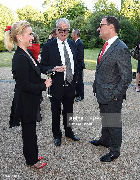 Joy Desmond Lord Tim Bell and Richard Desmond attend the Bell Pottinger Summer Party at Lancaster House on June 10 2015 in London England