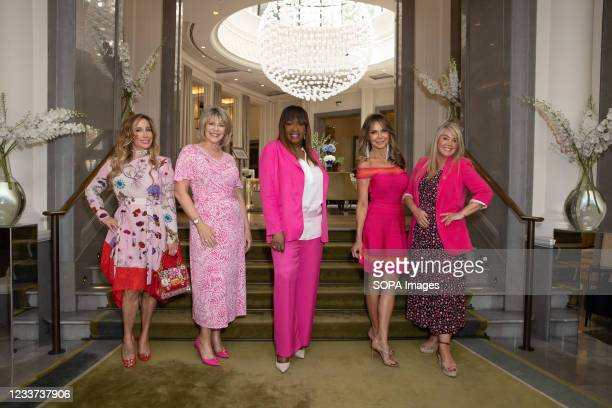Joy Desmond, Ruth Langsford, Angie Greaves, Lizzie Cundy and Lucy Alexander attend afternoon tea at Corinthia Hotel London in aid of Breast Cancer...
