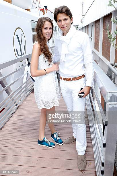 Joy Desseigne and her fiance Axel Perier attend the 'Brunch Blanc' hosted by Barriere Group. Held on Yacht 'Excellence' on June 29, 2014 in Paris,...