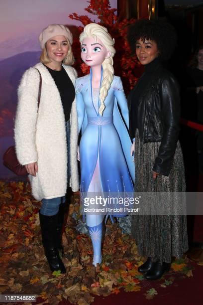 "Joy Esther and Aurelie Konate attend the ""Frozen 2 - La Reine Des Neiges 2"" Paris Gala Screening at Cinema Le Grand Rex on November 13, 2019 in..."