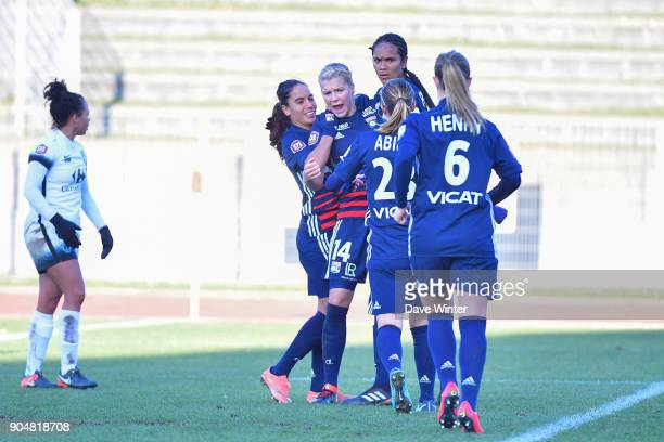 Joy for Ada Hegerberg of Lyon as she heads her side 10 ahead during the Division 1 match between Paris FC and Lyon on January 14 2018 in Evry...