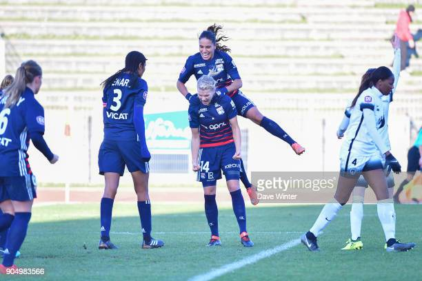 Joy for Ada Hegerberg of Lyon as she puts her side 10 ahead during the Division 1 match between Paris FC and Lyon on January 14 2018 in Evry...