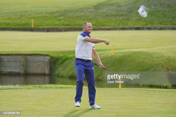 Joy for Alex Noren of Europe as he wins his match in the Singles during Day Three of the 2018 Ryder Cup at Le Golf National on September 30 2018 in...