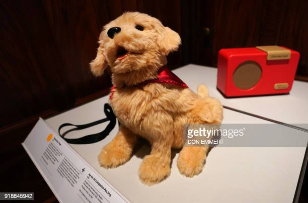 A Joy for All Companion Pet Dog and a Simple Music Player are displayed as part of the AccessAbility exhibit at the Cooper Hewitt Smithsonian Design...
