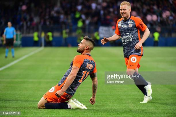 Joy for Andy Delort of Montpellier as he makes the score 22 after a pass from Florent Mollet of Montpellier during the Ligue 1 match between...
