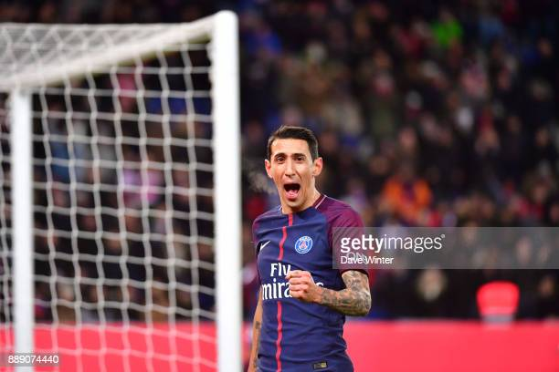 Joy for Angel Di Maria of PSG as he puts his side 10 ahead during the Ligue 1 match between Paris Saint Germain and Lille OSC at Parc des Princes on...
