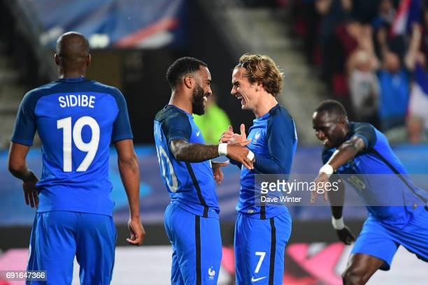 Joy for Antoine Griezmann of France as he puts his side 50 ahead during the soccer friendly match between France and Paraguay at Roazhon Park on June...
