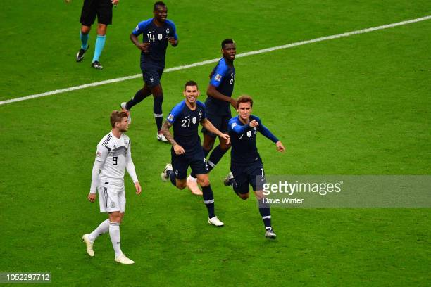 Joy for Antoine Griezmann of France azs he makes the score 11 with a header during the Nations League match between France and Germany at Stade de...