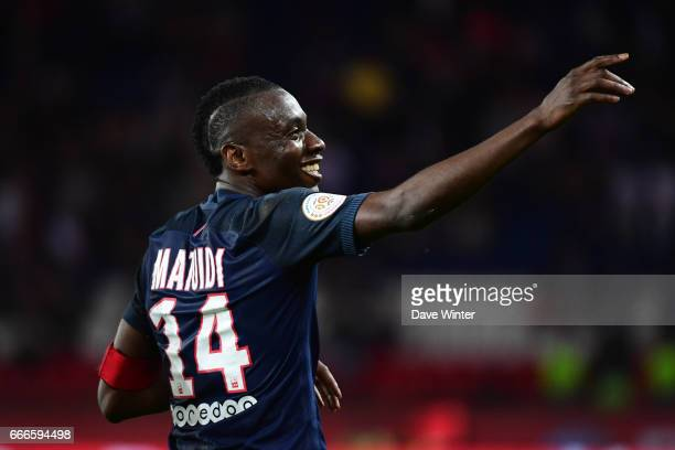 Joy for Blaise Matuidi of PSG ash he puts his side 40 ahead during the French Ligue 1 match between Paris Saint Germain PSG and En Avant Guingamp at...