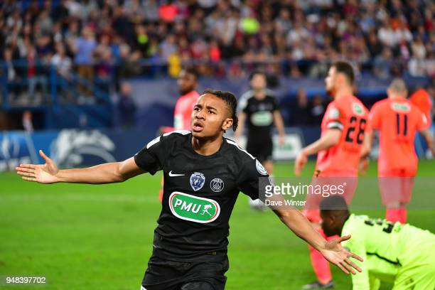 Joy for Christopher Nkunku of PSG after he puts his side 3-1 ahead during the French Cup Semi Final match between Caen and Paris Saint Germain on...