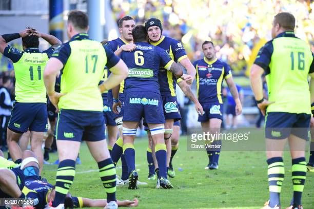 Joy for Clermont as they win the European Champions Cup semi final match between AS Clermont and Leinster on April 23 2017 in ClermontFerrand France