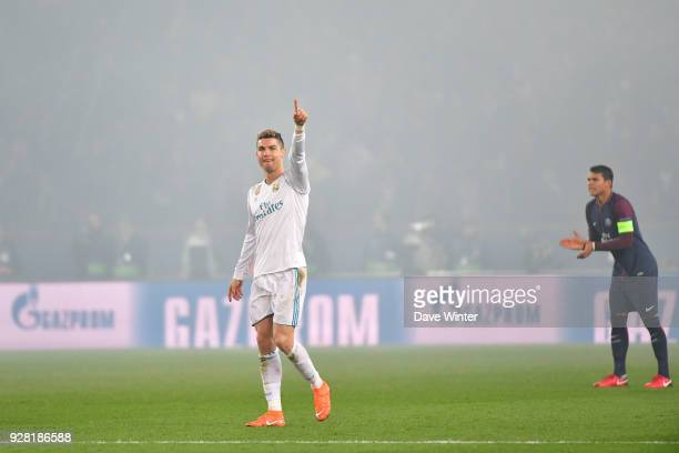 Joy for Cristiano Ronaldo of Real Madrid after he puts his side 10 ahead during the UEFA Champions League Round of 16 second leg match between Paris...