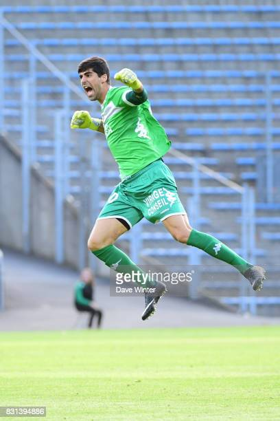 Joy for Danijel Petkovic of Lorient as his side win the Ligue 2 match between FC Lorient and Chateauroux at Stade du Moustoir on August 14 2017 in...