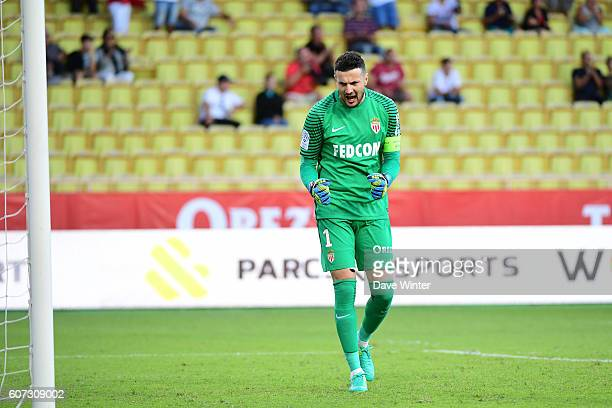 Joy for Danijel Subasic of Monaco as his team win the French Ligue 1 match between AS Monaco and Stade Rennais at Louis II Stadium on September 17...
