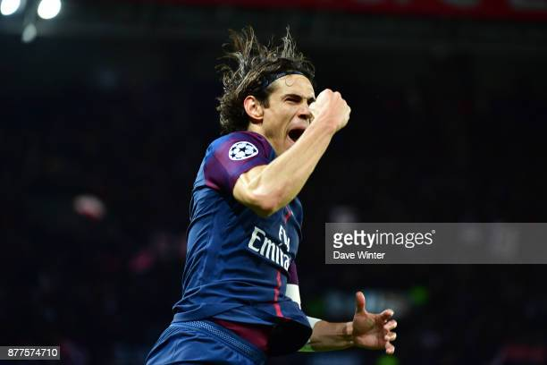 Joy for Edinson Cavani of PSG as he puts his side 61 ahead during the UEFA Champions League match between Paris Saint Germain and Glasgow Celtic at...