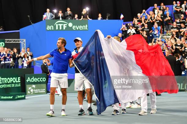 Joy for France as they take an unassailable 30 lead during Day 2 of the Davis Cup semi final on September 15 2018 in Lille France