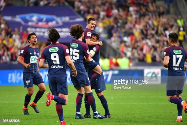 Joy for Giovani Lo Celso of PSG as he puts his side 10 ahead during the French Cup Final between Les Herbiers and Paris Saint Germain at Stade de...