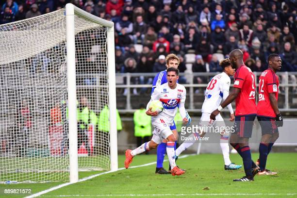 Joy for Houssem Aouar of Lyon as he scores a late equaliser during the Ligue 1 match between Amiens SC and Olympique Lyonnais at Stade de la Licorne...