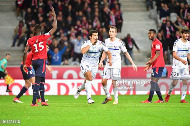 Joy for Idriss Saadi of Strasbourg after he equalises during the Ligue 1 match between Lille OSC and Strasbourg at Stade Pierre Mauroy on January 28...