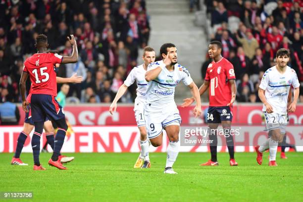 Joy for Idriss Saadi of Strasbourg as he equalises during the Ligue 1 match between Lille OSC and Strasbourg at Stade Pierre Mauroy on January 28...
